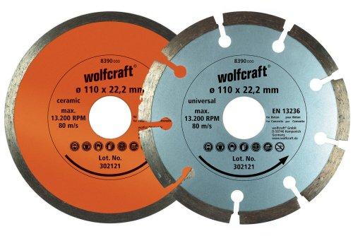 Wolfcraft 8390000 8390000-1 Set de 2 Discos diamantados de tronzar, uno segmentado y el Otro Cerrado diam. 110 x 22,23 mm, 110x22.23mm