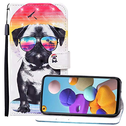 Nadoli 3D Effekt Brieftasche für Samsung Galaxy S20 FE,Lustig Brille Hund Muster Pu Leder Magnetverschluss Kartenfächer Flip Tasche Schutzhülle mit Standfunktion
