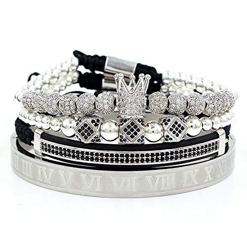 Imperial Crown King 18 K Gold Beads Bracelet Luxury Charm Fashion Jewelry For Men Women (SIlver)