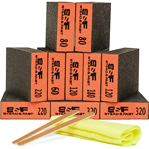 Sanding Block 10 pcs with Tack Cloth, 60 80 120 180 220 320 Coarse Medium Fine Grit Sanding Sponge Assortment, Sanding Sponges for Wood Drywall Metal by S&F STEAD & FAST