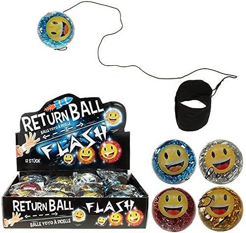 Kingdiscount 96 Stück LED Returnball 65 mm Glitterball + Smiley