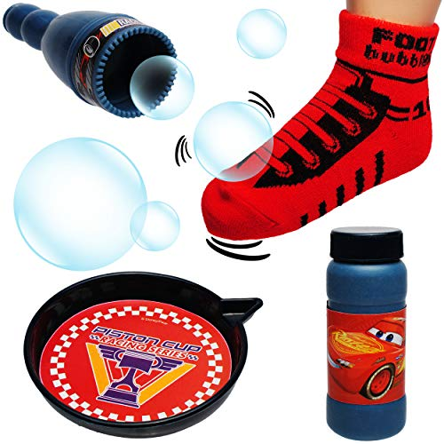 alles-meine.de GmbH Seifenblasenset - mit Socke - große Fußball Seifenblasen - stabil + Fast unkaputtbar - Disney Cars - Auto - Lightning McQueen - Seifenblasenspiel mit Nachfüll..
