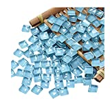 100 Pieces Mosaic Tiles Squares Light Blue Crystal Mosaic Stained Glass Kits for Adults Crafts Supplies DIY Picture Frames Handmade Jewelry Coasters Art Material Decoration,1x1cm