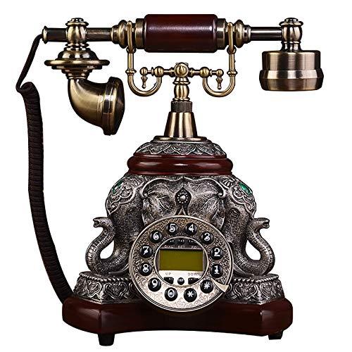 MEETGG Teléfono Antiguo Exquisito Elefante Talla de aleación y Materiales de Resina Se aplican a la Oficina de oficinas en el hogar Vintage Fijo Fijo Artesanías