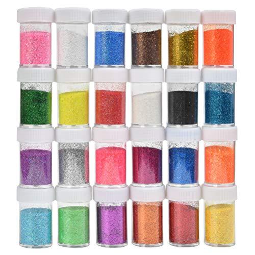 YOTINO Glitzer-Puder-Set Bunt 24, Glitter-Pulver in 24 Farben, Deko-Sand ideal zum Basteln für...