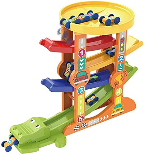XIHEJD Juguetes para niños Autismo Adventure Toys, Kids Race Track Coche Ramp Ramp Toy Click Spiral Tower PlaySet con 6 Mini Cars