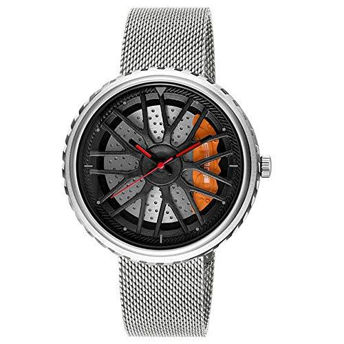 Kreative Armbanduhr wasserdichte Militärarmee Edelstahluhr Sportuhren 23.3cm Silber (Mesh)
