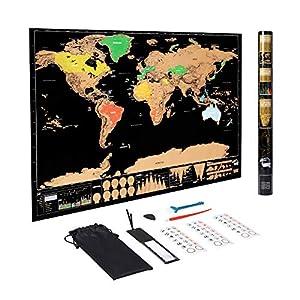 Hyindoor Mapa Mundi Rascar Grande 82.5 x 59.4cm con Piezas de Accesorios Mapa Educativo del Mundo con Tubo de Regalo