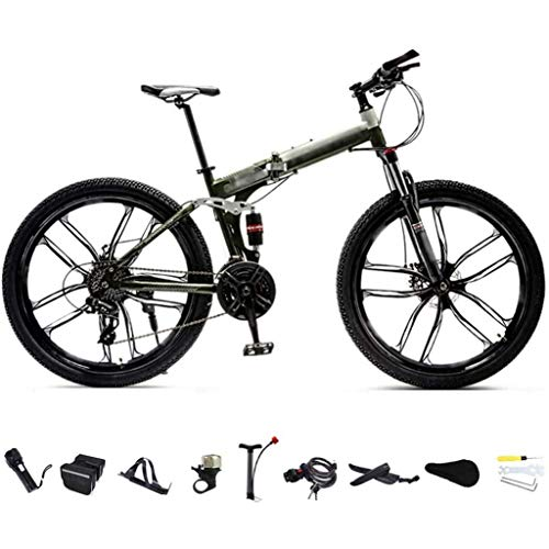 YLJYJ 26 Inch MTB Bicycle, Unisex Folding Commuter Bike, 24-Speed Gears Foldable Mountain Bike,Off-Road Variable Speed Bikes,Double Disc Brak(Exercise Bikes)