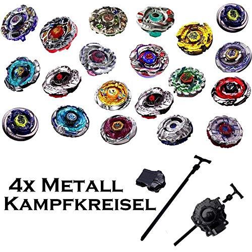 Rapidity 4er Kreisel für Beyblade Metall Fusion Metal Masters 4D Kampfkreisel inkl. Launcher