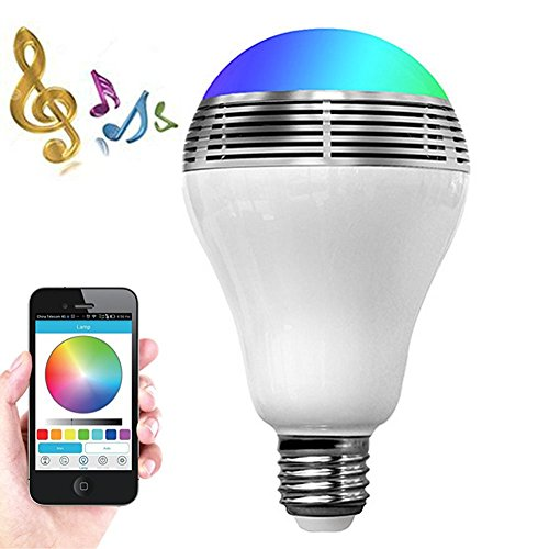 Christmas Decorations Halloween Smart LED Light Bulb Bluetooth Speaker E27 E26 RGB Color Changing Music Lamp Wireless Stereo Audio Smartphone APP Controlled Multicolored Player IOS Android Party Gifts