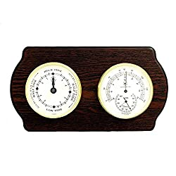 Bey-Berk WS420 Tide Clock and Thermometer with Hygrometer on Ash Wood with Brass Bezel. Wall Mounts Vertically or Horizontally, Brown