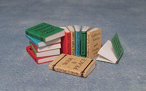 Dolls House Miniatur Puppenhaus 1:12, nostalgische Accessoires, Set von 12 Büchern