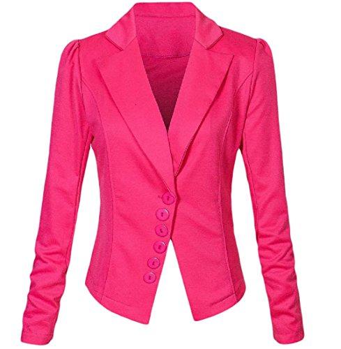 Blazer feminino Abetteric clássico de cor lisa para escritório, Rose Red, US S=China M