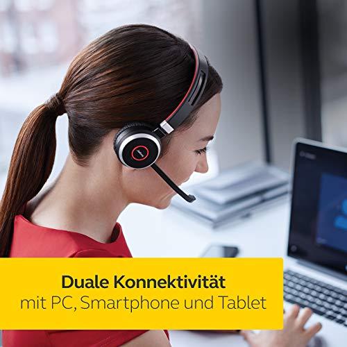 Jabra Evolve 65 Wireless Stereo On-Ear Headset – Microsoft zertifizierte Kopfhörer mit langer Akkulaufzeit – USB Bluetooth Adapter – Schwarz