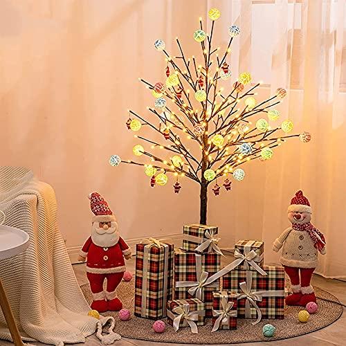 4 pies Pequeño árbol de Navidad con Decoraciones de Caramelo Santa Claus Caja de Regalo Cálida Lámpara de pie de Metal Blanco, Usado for el Centro Comercial Cherry Tree Christmas Holiday