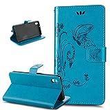 Kompatibel mit HTC Desire 816 Hülle,HTC Desire 816 Schutzhülle,Prägung Groß Schmetterling Blumen PU Lederhülle Flip Hülle Ständer Karten Slot Wallet Tasche Case Schutzhülle für HTC Desire 816,Blau