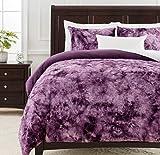 Chanasya 3-Piece Super Soft Fuzzy Faux Fur King Duvet Comforter Cover Set - Cozy Shag Furry Fluffy Royal Luxurious Velvet Mink Fabric - Dark Purple Bedding Zipper Closure Machine Washable- King Gray