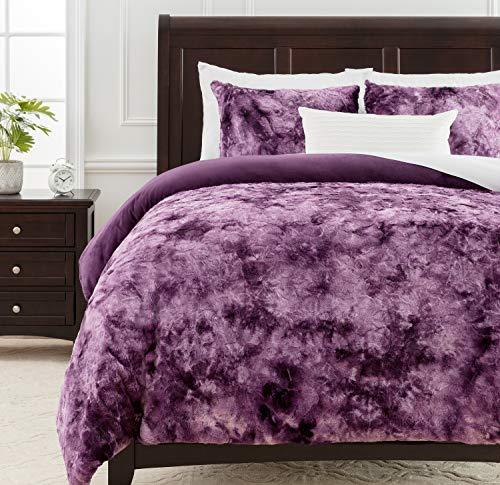 Chanasya Fuzzy Faux Fur Aubergine Duvet Cover Comforter Bedding Set King Size - 3 Piece Combo - Soft Cozy Shag Furry Fluffy Royal Luxurious Soft Velvet Mink Fabric Bedcover - Blanket Spread - Purple