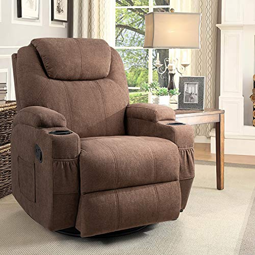 Flamaker Rocking Chair Recliner Chair with Massage and Heating 360 Degree Swivel Ergonomic Lounge Chair Classic Single Sofa with 2 Cup Holders Side Pockets Living Room Chair Home Theater Seat (Brown)