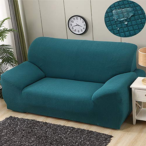L-LIPENG Sofa Cover, Waterproof Elastic Sofa Cover, Thick L-Shaped Corner Universal Sofa Cover, 1/2/3/4/Seat Non-Slip Furniture Protector (with Two Pillowcases),Green,190~230cm