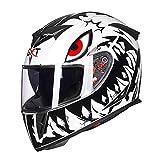Cascos de Moto antiniebla, Hombres Lente Doble Casco Integral de Motocicleta Casco de Motocross Transpirable a Prueba de Golpes Accesorios a Prueba de Viento al Aire Libre