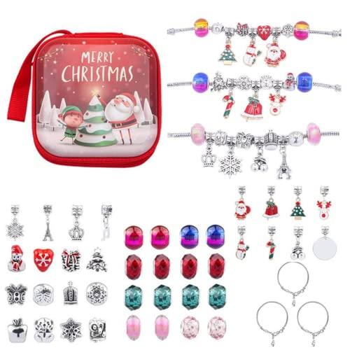 MezoJaoie 43PCS Kit De Fabricación De Pulseras con Dijes con Caja Roja, Kit De Fabricación De Pulseras De Navidad con Cuentas Kits De Manualidades para La Fiesta De Cumpleaños De Navidad