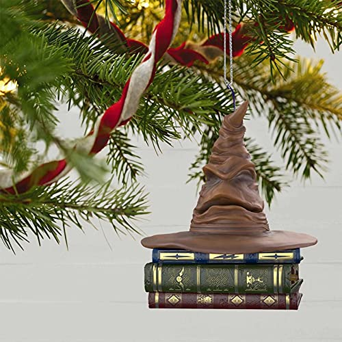 JICINME 6inch Harry Potter Sorting Hat Ornament - with Sound and Motion, Sorting Hat Christmas Tree Topper, Top Hat Christmas Decorations, Christmas Tree Pendant Decorations