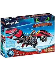 PLAYMOBIL DreamWorks Dragons 70727 Dragon Racing: Hipo y Desdentao, Con módulo luminoso, A partir de 4 años