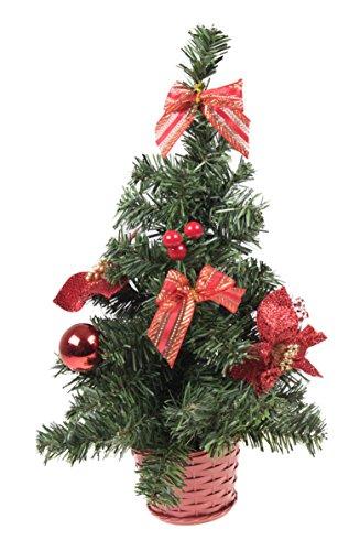 Clever Creations - Arbolito de Navidad Artificial para Mesa - Decorado con Lazos Rojos - Ideal para el hogar o la...