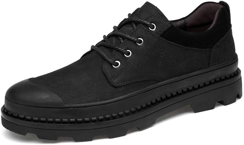 Yajie-shoes, Men's Fashion Oxfords shoes, Casual Round Toe Wear-resistant Belt Work shoes (color   Black, Size   5.5 UK)