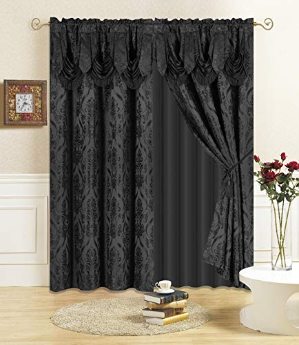"""All American Collection New 4 Piece Drape Set with Attached Valance and Sheer with 2 Tie Backs Included (63"""" Length, Black)"""