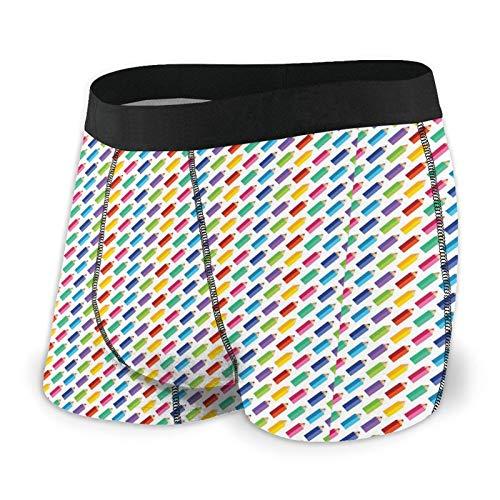 Ilustración infantil de lápices de colores en calzoncillos tipo bóxer para hombre repetidos, ropa interior suave de moda, cintura cubierta, pierna corta, secado rápido