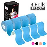 REFUN Kinesiology Tape Precut (4 Rolls Pack), Elastic Therapeutic Sports Tape for Knee Shoulder and Elbow, Pain Relief, Waterproof, Latex Free, 2' x 16.5 feet Per Roll, 20 Precut 10 Inch Strips