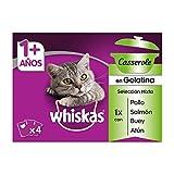 Whiskas Casserole Multipack Bolsitas de Comida Húmeda para Gatos Adultos Selección de Carne y...