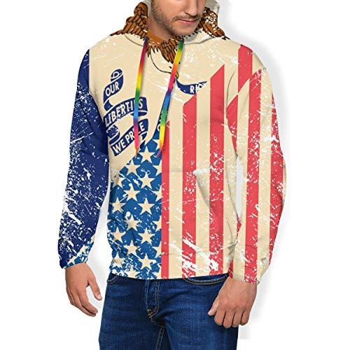 HZamora_H Retro USA and Iowa State Flag Men's Thick Hoodie Winter Sweatshirts Classic Long Sleeve Jacket Black