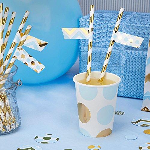 Simplydeko Mini-Flaggen für Trinkhalme   Kreative Strohhalme-Deko für Deine Party oder Hochzeit   Blau Gold   30 Stück