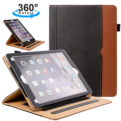 ZoneFoker New iPad 7th Generation Tablet Leather Case (10.2-inch,2019 Releases), 360 Degree Rotating Multi-Angle Viewing Folio Stand Cases with Pencil Holder for iPad 10.2 7th Gen - Black/Brown