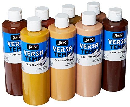 Sax - 1440732 Versatemp Tempera Paint, 1 Pint, Assorted Skin-Tone Colors, Set of 8