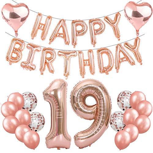 Feelairy 19. Geburtstag Dekoration Rosegold 19th Geburtstag Party Deko Set, Riesen Folienballons Zahl 19, Happy Birthday Girlande Ballons, 19. Geburtstagsdeko für Mädchen Jungen