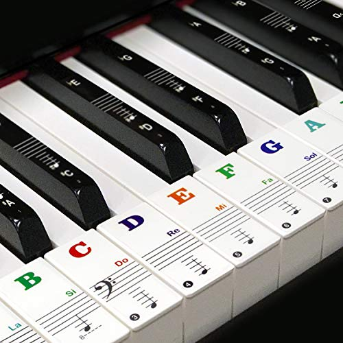 Keyboard Aufkleber,Klavier Aufkleber für 49/54/61/88 Tasten,Keyboard Noten Aufkleber für Schwarz,Weiß Tasten,mit Farbige Großbuchstaben, Transparent und Abnehmbar