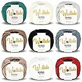 Wollidu Kira 100% algodón para punto y ganchillo, 9 ovillos de 50 g ,mezcla de colores 2