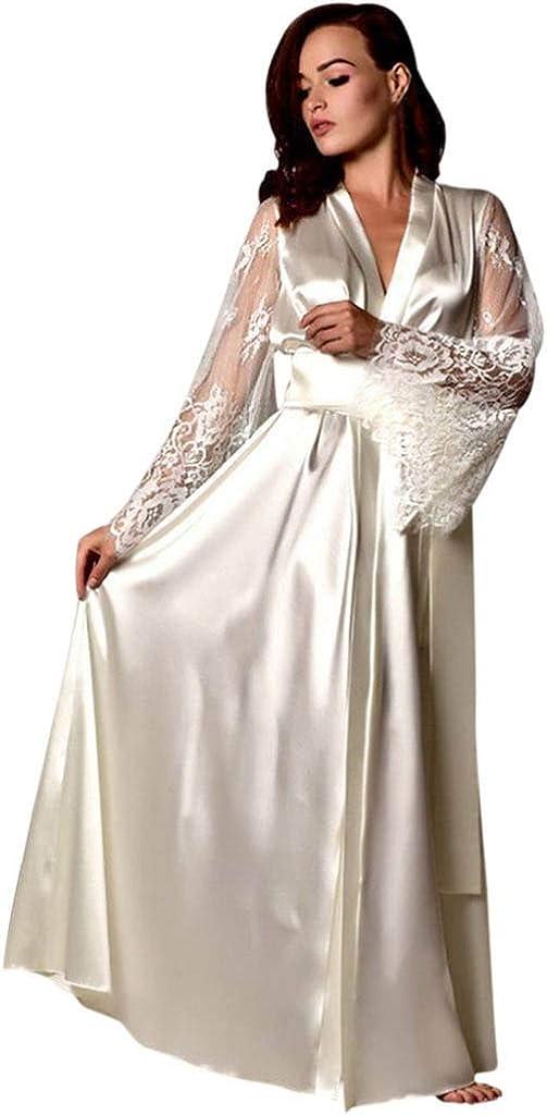 iQKA Women Long Robe Deep V Neck Lace Long Sleeve Satin Long Nightdress Lingerie Nightgown Sleepwear Sexy Bathrobe