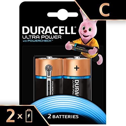 Duracell Ultra Power alkaline batterijen (afbeelding kan afwijken) Maat C 2 Stuk zwart