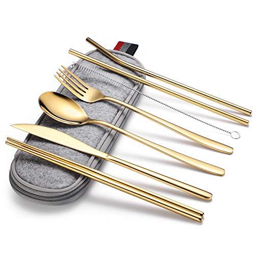 Juego de cubiertos, juego de cubiertos portátil de acero inoxidable de 7 piezas, para uso multifuncional en la cocina del hogar y viajes
