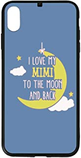 I Love My Mimi to The Moon and Back iPhone Case XS MAX Shatter-Resistant Anti-Fingerprint Scratch-Proof Mobile Phone Case TPU Phone Case + Tempered Glass Case