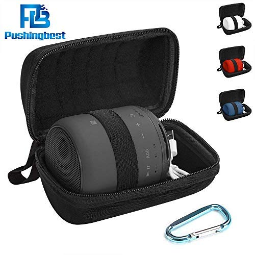 Hard EVA Travel Case for Sony XB10 Portable Wireless Speaker with Bluetooth Accompanied with a Carabiner by Pushingbest (Black)