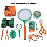 Keenso Kit de Explorador para Exteriores, Juego de Juguetes de Aventura, binoculares de Juguete para niños, Lupa, Camping de Aventura para niños, Juguetes de Regalo
