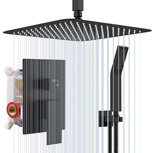 Rainsworth 12-Zoll Luxus Duschsystem Unterputz Regendusche System, Matt Schwarz Duschset mit Duschkopf aus rostfreiem Edelstahl 30x30cm eckig …