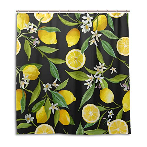 CPYang Duschvorhänge Obst Zitronenbaum Muster Wasserdicht Schimmelresistent Badevorhang Badezimmer Home Decor 168 x 182 cm mit 12 Haken